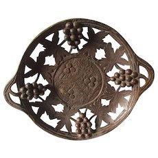 Hand Carved German, Black Forest Bread Basket, Tray with Grape Motif