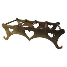Old Primitive Brass Trivet Stand with Heart Motif