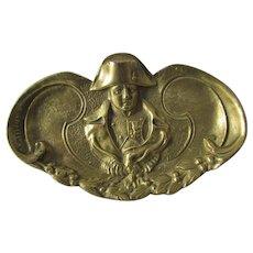 Antique Dore Brass Tray with French Military, Napoleon Bonaparte