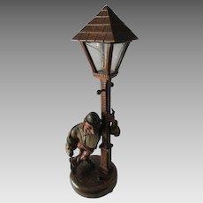 Vintage German, Black Forest Hand Carved Wood Lamp
