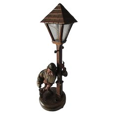 Vintage German, Black Forest Hand Carved Wood Lamp
