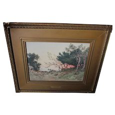 Antique Impressionistic Watercolor Painting, Listed French Artist Henri Mouren
