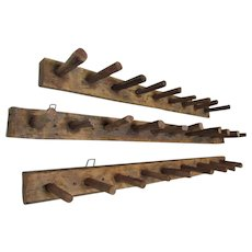 3 Rustic Antique Primitive Wood Hooks, Tobacco Drying Racks
