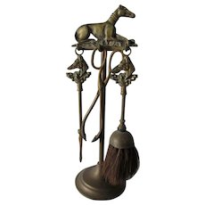 c1930s English Brass Stove, Fireplace Set with Greyhound Whippet Dogs