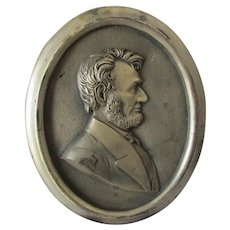 c1920s President Abraham Lincoln Metal Plaque, Political, Historical