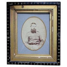 Antique Civil War Soldier Photograph in Eastlake Picture Frame