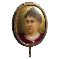 Antique c1890s Stickpin with Hand Painted Miniature Portrait of a Lady
