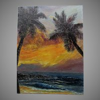 c1967 Kona Sunset Hawaiian Oil Painting Signed Miller