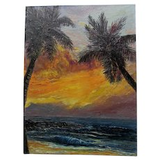 c1967 Kona Sunset Hawaiian Oil Painting Signed Miller