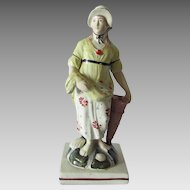 Antique c1830s Soft Paste Figurine of a Lady Selling Fish