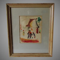 c1952 Mid Century Modern Haitian Watercolor Painting, Signed