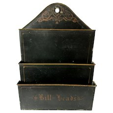 Circa 1865 Toleware Bill, Letter Holder, Wall Mount Post Office