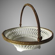 Pretty c1910s European Bronze Mount Ceramic Basket