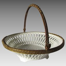 Pretty c1910s European Bronze Mount Ceramic Basket