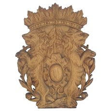 Antique European Hand Carved Oak Sign or Crest with Lions