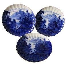 3 Antique Staffordshire Flow Blue Plates, Romantic Castle Scenes
