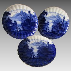 3 Antique Staffordshire Flow Blue Plates, Romantic Castle Scenes