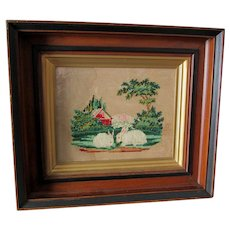 Antique c1880s Sampler of 2 Bunny Rabbits, Punched Paper