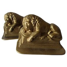 Antique Cast Iron Lion of Lucerne Bookends, Desk or Library Accessory