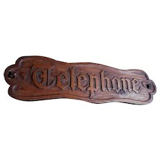Vintage Hand Carved Wood Sign, Telephone