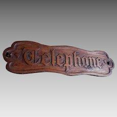 Vintage Hand Carved Wood Sign, Telephone