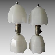 Cool Pair c1920s Art Deco Glass Lamps with Geometric Design