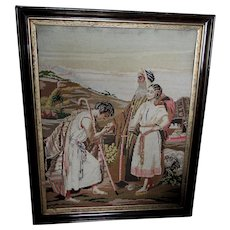 Antique 19thC Needlepoint Tapestry, Wedding Proposal, Biblical