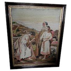 Antique 19thC Needlepoint Tapestry, Wedding Proposal, Biblical