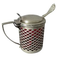 Antique c1906 Sterling Silver Condiment, Jam Jar with Ruby Glass Insert