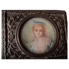 Antique French Miniature Painting, Vanity Box, Signed Portrait