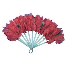 Antique Art Nouveau Ladies Fan with Silk Poppy Flowers