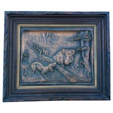 Antique Repousse Copper Plaque of a Wild Boar, Hunting Dog
