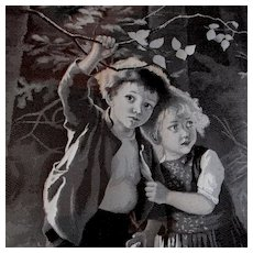 Antique French Silk Tapestry of 2 Children