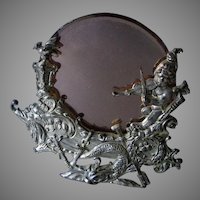 Lovely Antique Victorian Mirror with Cherub, Dolphin & a Northwind Face