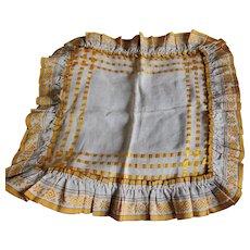 Beautiful c1910 Victorian, Edwardian Linen & Silk Ribbon Pillow