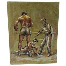 c1941 Painting of a Boxing Scene, Joe Louis, Billy Conn, Illustration Art