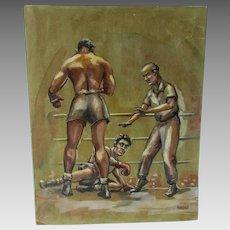 c1941 Painting of a Boxing Scene, Joe Louis, Billy Conn, Illustration Art