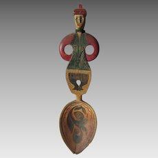 Vintage Folk Art Hand Carved Norwegian Spoon in Original Paint