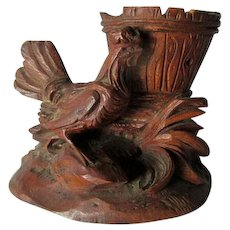 Antique German, Black Forest Match Safe, Toothpick Holder with Rooster