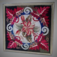 Whimsical Antique Wool Petit Point, Needlepoint Tapestry with Lily Flower