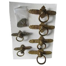 Set Antique c1880s Brass Architectural Handles, Drawer Pulls,