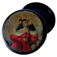 Antique c1830s French Paper Mache Snuff Box with Lovely Lady