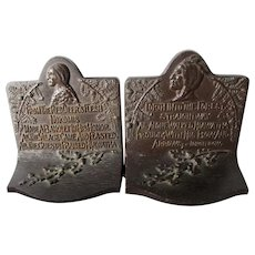 Arts and Crafts Native American Indian,  Hiawatha Cast Iron Bookends