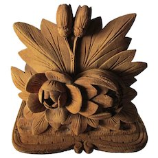 Lovely Antique Hand Carved Art Nouveau Water Lily Bookends