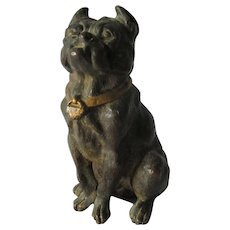 Antique Bronze Bulldog, Cold Painted European Miniature Sculpture