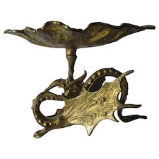 Antique Gothic Gargoyle, Dragon Calling Card Receiver, Brass Tray