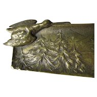 Antique Brass Pen Tray with Birds, Desk Accessory