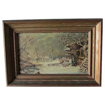 Charming Antique Folk Art Oil Painting of Visitors in Village
