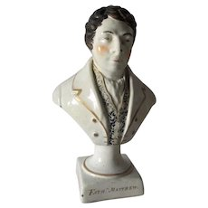 Antique c1830 Pearlware Bust of Father Matthew, Staffordshire