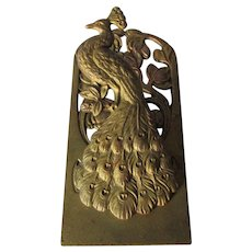 Antique Art Nouveau Peacock Paperclip, Letter Clip, Desk Memo Holder